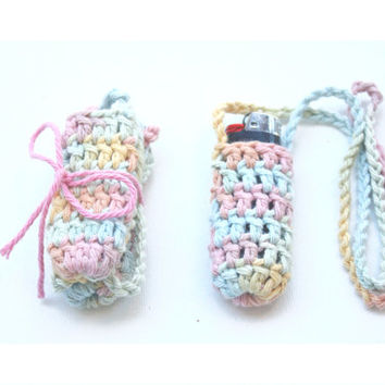 Pre-made Ready to Ship Rainbow Lighter Leash - Bic Pocket Necklace Lighter Holder - Noelebelle Crochet - Cute and Handmade