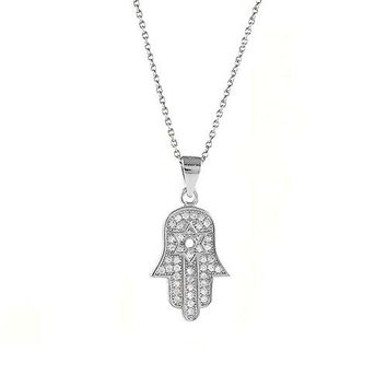 Ben and Jonah 925 Sterling Silver CZ Micro Pave Star of David in Hamsa with 18 inch  Link Chain