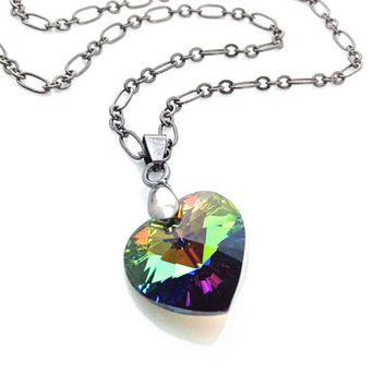 Multicolor Heart Necklace, Colorful Heart, Rainbow Necklace, Swarovski Heart Necklace, Neon Heart, Green Heart, Gift For Teenager