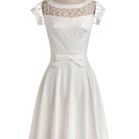 Vintage Inspired Long Cap Sleeves A-line With Only a Wink Dress in Ivory