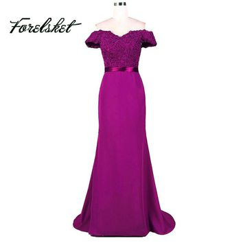 Dark Purple Mint Green Sequin Mermaid Bridesmaid Dresses 2017 Boat Maid Of Honor Dresses Long Party Dress off the shoulder