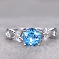 Blue Topaz And Diamond Ring White Gold 7mm Round December Birthstone Bridal Ring Marquise Shank 14k/18k