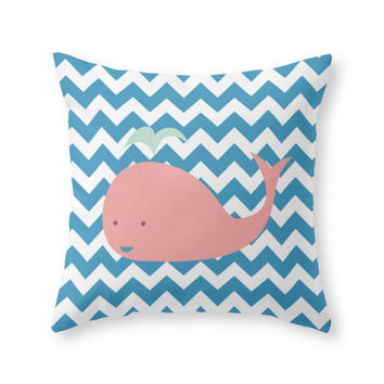 Society6 Cute Whale And C Throw Pillow