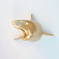 The Lewie in Gold - Gold Resin Shark Head- Shark Resin White Faux Taxidermy- Chic & Trendy Fish Mount