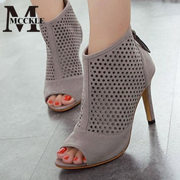 2016 Summer style Open Toe Breathable boots Shoes Women High Heels sandals Woman fashion heels black ladies botines mujer ZY603