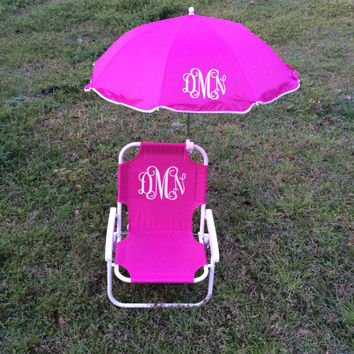 Monogrammed kids beach chair with umbrella for Monogrammed kids chair
