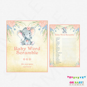 Baby Word Scramble, Elephant Baby Shower Games, Baby Word Scramble Game, Floral Baby Shower Girl, Baby Shower Sign Watercolor Printable ELWP