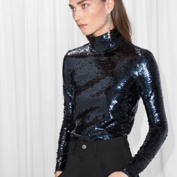 & Other Stories | Sequined Turtleneck Top | Blue