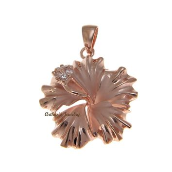 STERLING SILVER 925 HAWAIIAN HIBISCUS FLOWER PENDANT CZ 25MM PINK GOLD PLATED