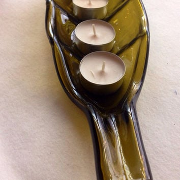 Slumped wine bottle tea light candle holder or party tray