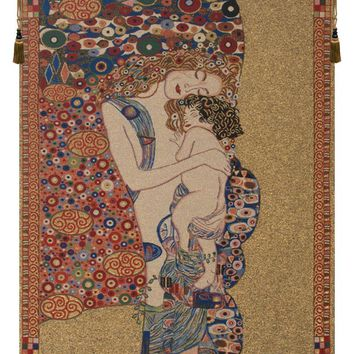 Klimts Mother and Child Tapestry Wall Art Hanging