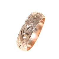 14K ROSE GOLD HAND ENGRAVED HAWAIIAN PLUMERIA SCROLL RING DIAMOND CUT EDGE 6MM
