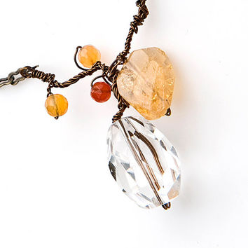 Fall Necklace,  Gemstone Necklace,  Pendant Necklace, Nature Inspired Jewelry