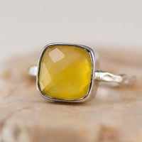 Gemstone Ring - Yellow Chalcedony Ring - Sterling Silver - Bezel Set Ring - Stackable Ring - Mother's Day Gift
