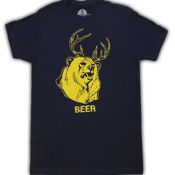 Beer Bear+Deer Mac Navy Adult T-shirt