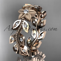 14kt rose gold diamond flower, leaf and vine wedding ring, engagement ring, wedding band ADLR161