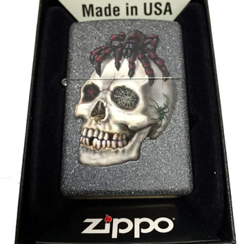 Zippo Custom Lighter - Tarantula on Skull - Regular Iron Stone Matte 211CI011783
