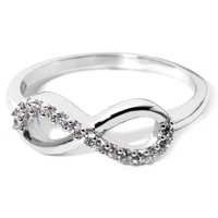 Sterling Silver Rhodium Plated Forever Infinity Ring Love & Friendship Size 8