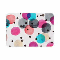 "Crystal Walen ""Festive Watercolor Dots "" Pink Black Memory Foam Bath Mat"