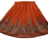 Orange Sequin Skirts Gypsy Bohemian Indian Designer Knee Length Skirt for Her