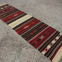 Woven Runner,Turkish Runner,Hand made Anatolian Decorative Small Kilim Runner,Wool Rug,Vintage Kelim,Kitchen Rug,242 X 66 cm / 8' X 2'2''ft