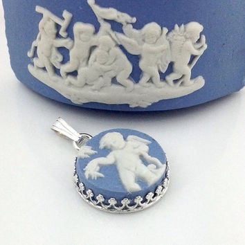 Broken China Jewelry Pendant, Blue Wedgwood, Angel Jewelry, Angel Necklace, Cherub, Jasper Ware