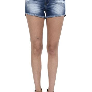 Kancan Women's High Rise Distressed Jeans Shorts with Frayed Hem