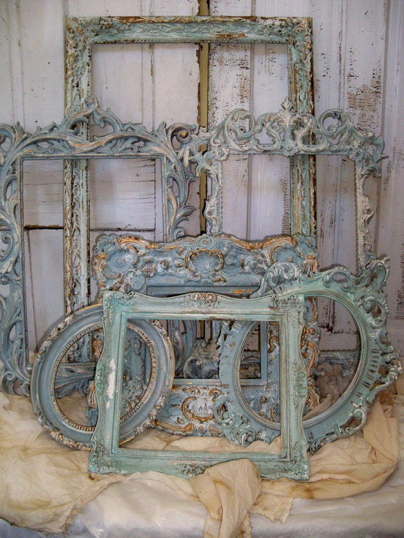 French Blue Ornate Frame Grouping Shabby From