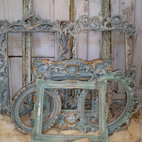 French blue ornate frame grouping shabby French cottage wall and home decor ooak Anita Spero