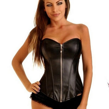S-6XL plus size 2 color women sexy PU overbust zipper body shaper top Sexy adult faux leather night club wear corset corsets red black = 1958364932