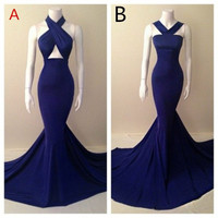 Long Navy Blue Evening Dresses 2017 Mermaid Prom Dress Backless Halter Off Shoulder Sleeveless Criss Cross Special Occasion Gown
