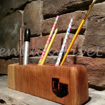 Wooden Pen Holder, Organic, Cherry Slab, Natural Edges, Office Organizer, Desk Helper, Pencil Holder, Rustic, Modern, Reclaimed, Office Mate