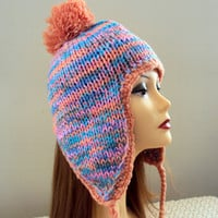 POM POM HAT Knit Winter Hat Ear Flaps Snow Hat Winter Accessories Women Men Teen to Adult Fashion Clothing Accessories Gift Ideas Under 50