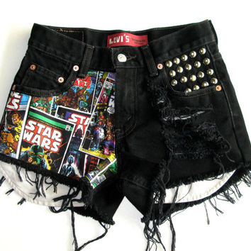 ALL SIZES Half Star Wars Half Distressed & Studded High Waisted Shorts