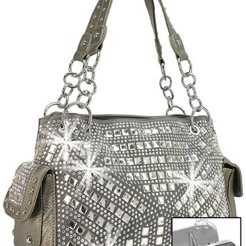 Concealed Carry Geometric Rhinestone Design Handbag In Pewter