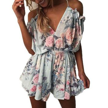 ESBONFI Summer Women Romper Shorts Jumpsuit Sexy Short Sleeve Playsuit V Neck Bohemian Beach Overalls Casual Loose Clothing Bodysuit