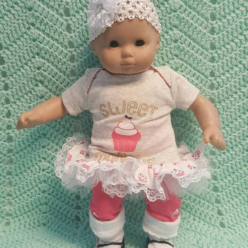 "Baby Doll Clothes ""Sweet Like Mommy"" (15 inch) doll outfit Will fit Bitty Baby® Bitty Twins®  dress shorts socks headbands cupcake B10"