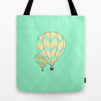 Hot Air Balloon Print Tote Bag by CandyBoxDigital