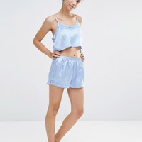 Boohoo Lace Trim Cami And Short Pajama Set
