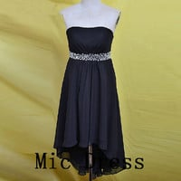 Strapless sleeveless Hi-lo sashes crystal beading short prom/Evening/Party/Homecoming/cocktail /Bridesmaid/Formal Dress