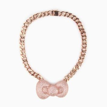 nOir x Hello Kitty Bow Necklace: 18k Rose Gold Plated