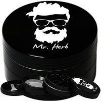 Mr. Herb Chamber Shredder Crusher with Pollen Catcher and Scraper - 4 Pieces (Black)