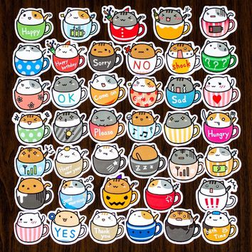 40pcs DIY Self-adhesive Cute Coffee Cup Cats Scrapbooking Stickers Craft Sticker Photo Albums Diary Decor