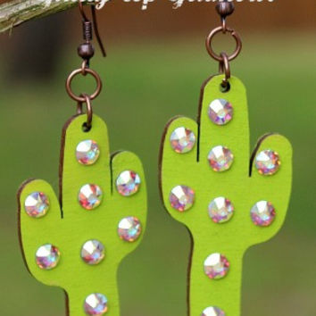 Green Cactus Earrings with AB Crystals