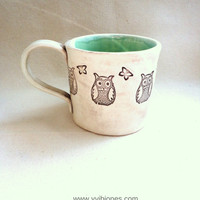 Owl Pottery Mug, Ceramic Coffee Mug, Large Tea Cup, Mint Green and Brown