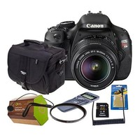 Canon EOS Rebel T3i Digital SLR Camera, 18 Megapixel, EF-S 18-55mm f/3.5-5.6 IS II Lens - Bundle With 16GB Class 10 SDHC Card, Spare Battery, Camera Bag, 58mm UV Filter, Capleash II, Screen Protector, Wired Remote Shutter Trigger