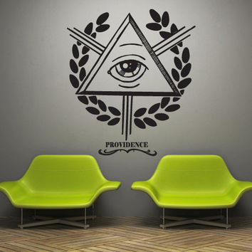 Wall decal decor decals art sticker all seeing eye annuit coeptis illuminati god triangle providence inscription (m777)