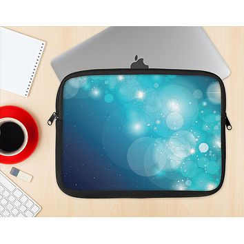 The Glowing Blue & Teal Translucent Circles Ink-Fuzed NeoPrene MacBook Laptop Sleeve
