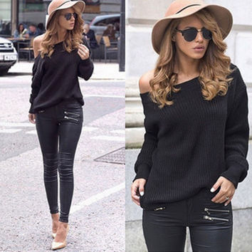 Black One Shoulder Long Sleeve Knitted Blouse