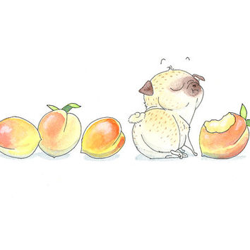 Peaches and Pugs Art Print - Cute Pug Dog Art, Sweet Summery Pug Decor or Peachy Keen Kitchen Print from InkPug!